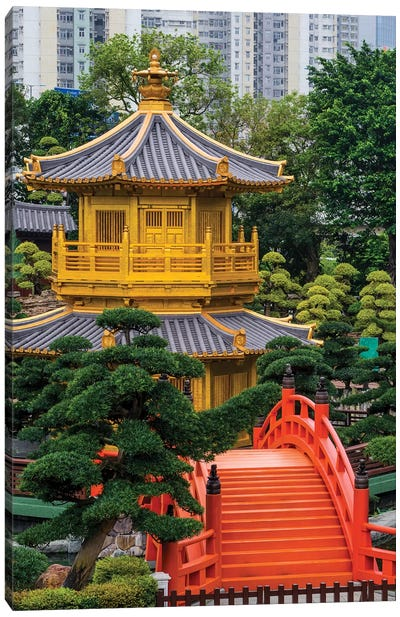 The pagoda at the Chi Lin Nunnery and Nan Lian Garden, Kowloon, Hong Kong, China. Canvas Art Print