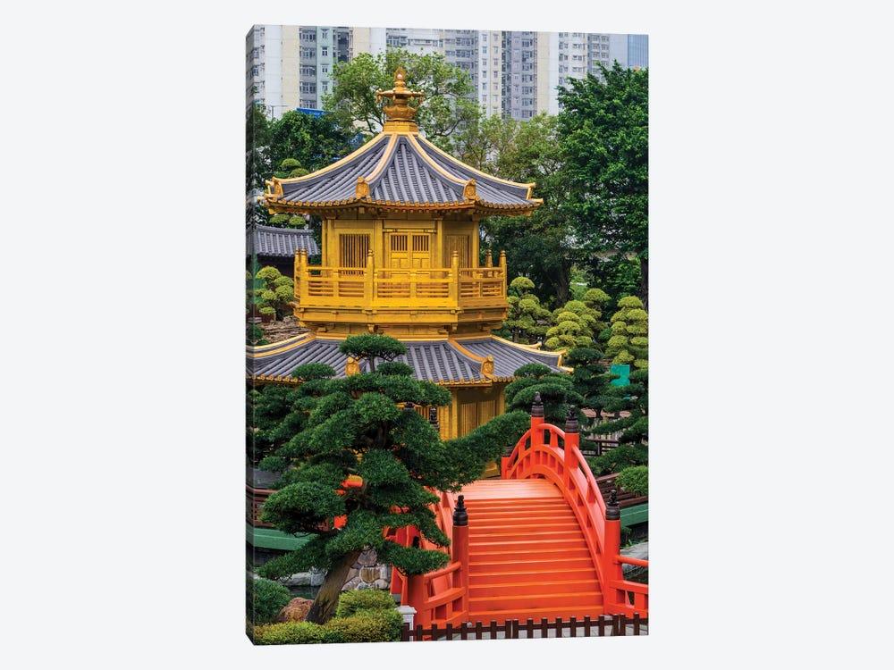 The pagoda at the Chi Lin Nunnery and Nan Lian Garden, Kowloon, Hong Kong, China. by Michael DeFreitas 1-piece Canvas Art