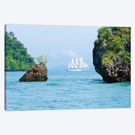 Star Flyer Cruise Ship, Phang Nga Bay, Strait Of Malacca, Andaman Sea Canvas Print #MDE1} by Michael DeFreitas Canvas Art Print