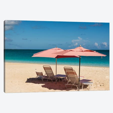 Beach Umbrellas On Grace Bay Beach, Providenciales, Turks And Caicos Islands, Caribbean. Canvas Print #MDE24} by Michael DeFreitas Canvas Art Print
