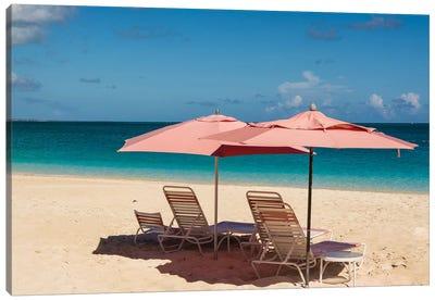 Beach Umbrellas On Grace Bay Beach, Providenciales, Turks And Caicos Islands, Caribbean. Canvas Art Print