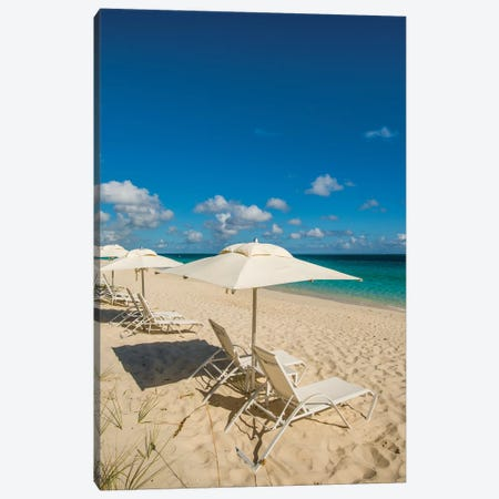 Beach Umbrellas On Grace Bay Beach, Providenciales, Turks And Caicos Islands, Caribbean. Canvas Print #MDE25} by Michael DeFreitas Canvas Art Print