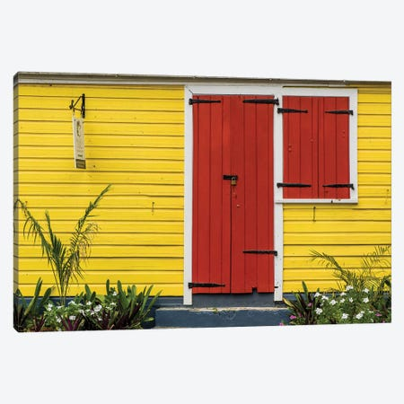 Colorful House In Christiansted, St. Croix, Us Virgin Islands. Canvas Print #MDE28} by Michael DeFreitas Canvas Artwork