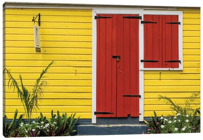 Colorful House In Christiansted, St. Croix, Us Virgin Islands. Canvas Art Print