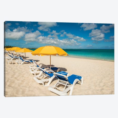 Beach umbrellas on Grace Bay Beach, Providenciales, Turks and Caicos Islands, Caribbean. Canvas Print #MDE35} by Michael DeFreitas Canvas Artwork