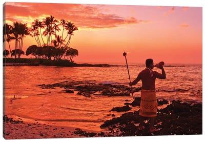 Blowing Of The Conch, Big Island, Hawai'i, USA Canvas Art Print
