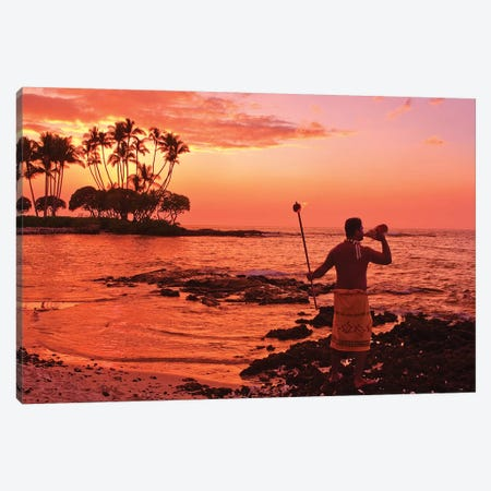 Blowing Of The Conch, Big Island, Hawai'i, USA Canvas Print #MDE4} by Michael DeFreitas Canvas Wall Art