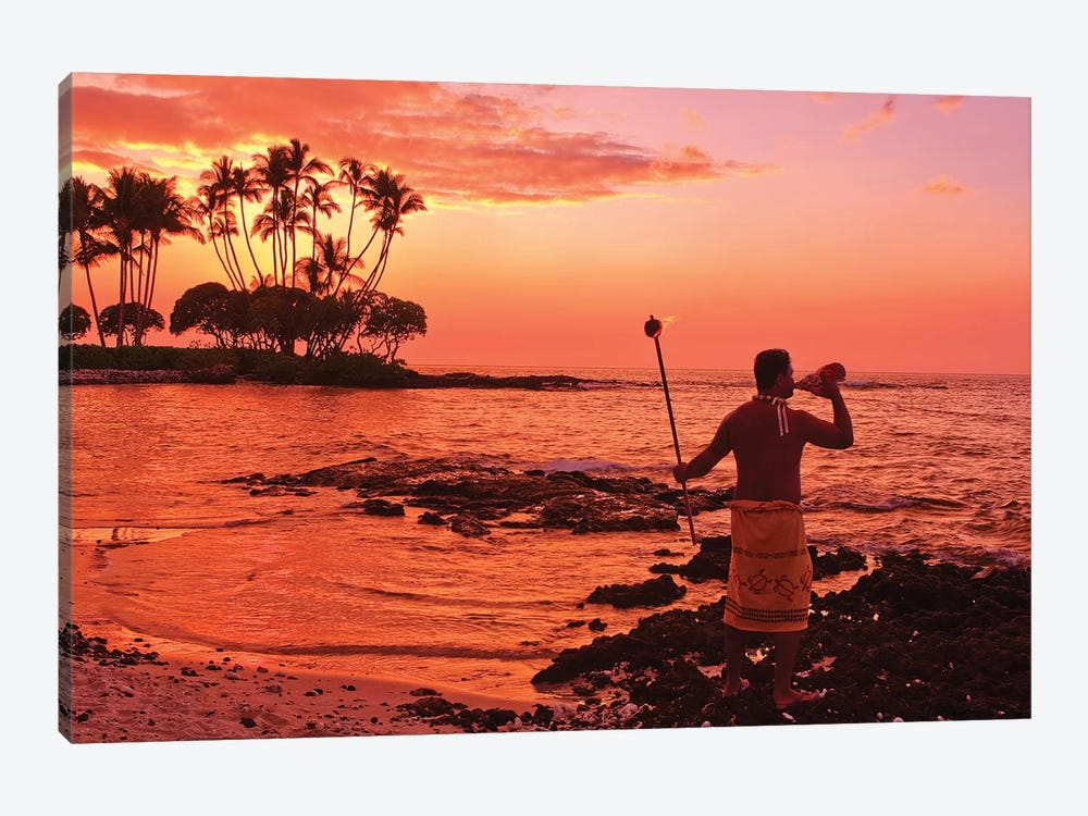 Blowing Of The Conch, Big Island, Hawai'i, USA by Michael DeFreitas 1-piece Canvas Wall Art
