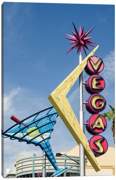 Neon Martini Glass And Vegas Signs, Fremont East Entertainment District, Las Vegas, Nevada, USA Canvas Art Print