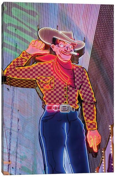 Vegas Vic Neon Sign In Zoom, Fremont Street, Downtown Las Vegas, Nevada, USA Canvas Art Print