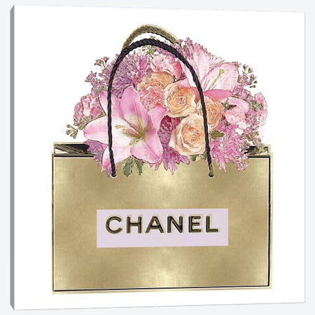 Gold Bag With Pink Bouquet Canvas Print #MDL10} by Madeline Blake Canvas Wall Art