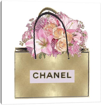 Gold Bag With Pink Bouquet Canvas Art Print