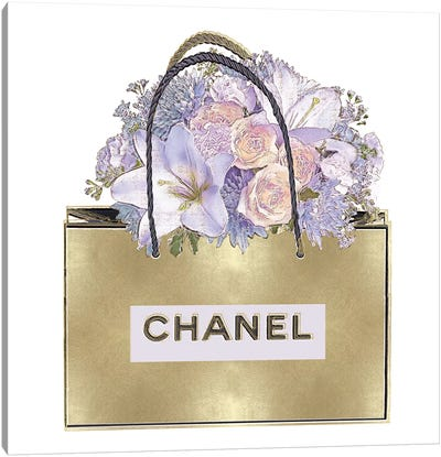Gold Bag With Purple Bouquet Canvas Art Print