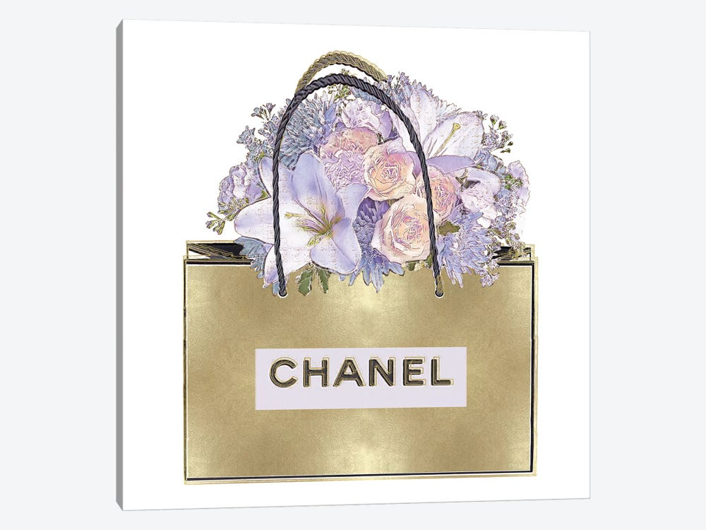 Gold Bag With Purple Bouquet by Madeline Blake 1-piece Art Print