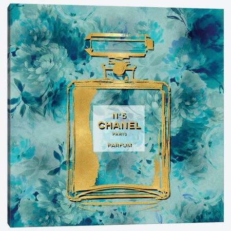 Gold Perfume On Aqua Flowers Canvas Print #MDL14} by Madeline Blake Art Print