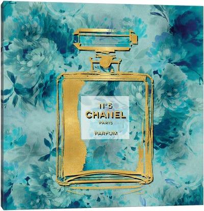 Gold Perfume On Aqua Flowers Canvas Art Print