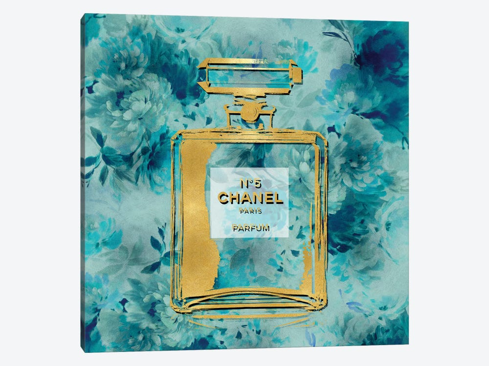 Gold Perfume On Aqua Flowers by Madeline Blake 1-piece Canvas Art