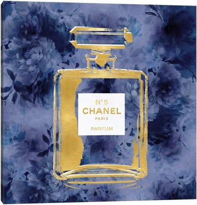 Gold Perfume On Blue Flowers Canvas Art Print
