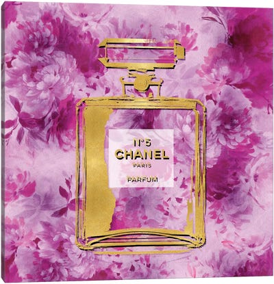Gold Perfume On Pink Flowers Canvas Art Print