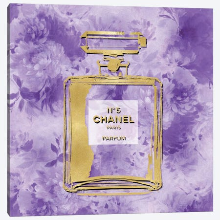 Gold Perfume On Purple Flowers Canvas Print #MDL18} by Madeline Blake Canvas Wall Art