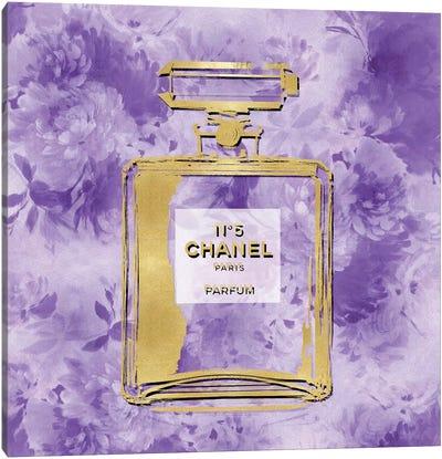 Gold Perfume On Purple Flowers Canvas Art Print