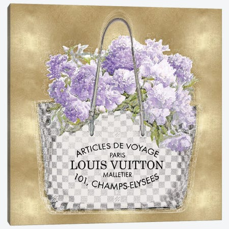 Lavender Bouquet On Gold Canvas Print #MDL21} by Madeline Blake Art Print