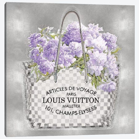 Lavender Bouquet On Silver 3-Piece Canvas #MDL22} by Madeline Blake Art Print