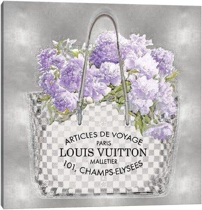 Lavender Bouquet On Silver Canvas Art Print