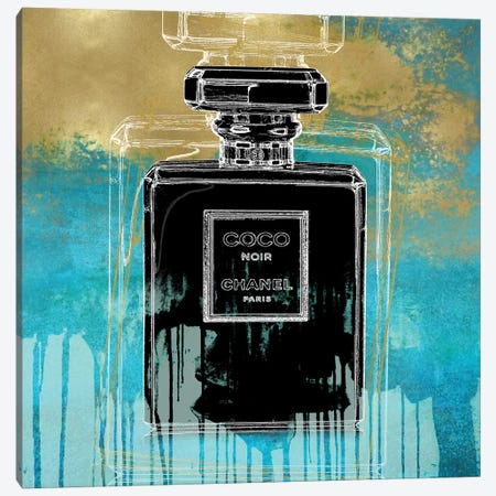 Noir On Teal Canvas Print #MDL27} by Madeline Blake Canvas Artwork