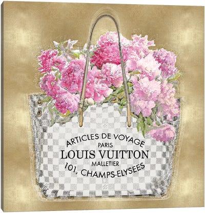 Pink Bouquet On Gold Canvas Art Print