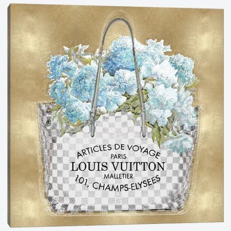 Aqua Bouquet On Gold 3-Piece Canvas #MDL2} by Madeline Blake Canvas Art