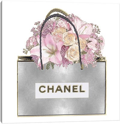 Silver Bag And Pink Bouquet Canvas Art Print