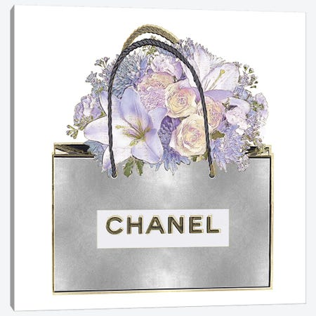Silver Bag And Purple Bouquet Canvas Print #MDL33} by Madeline Blake Canvas Artwork
