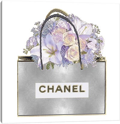Silver Bag And Purple Bouquet Canvas Art Print