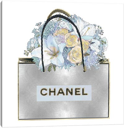 Silver Bag With Aqua Bouquet Canvas Art Print