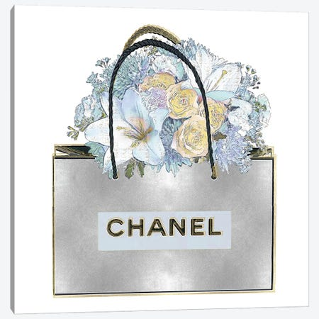Silver Bag With Aqua Bouquet 3-Piece Canvas #MDL34} by Madeline Blake Art Print