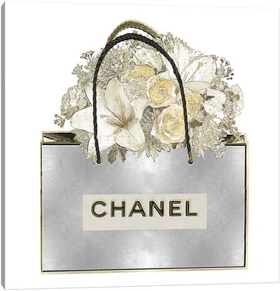 Silver Bag With Floral Bouquet Canvas Art Print