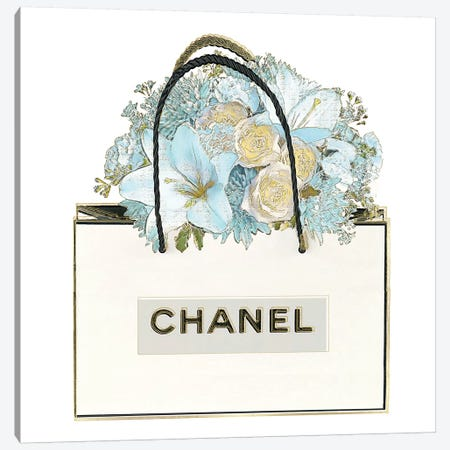 Bag with Floral Bouquet Canvas Print #MDL39} by Madeline Blake Canvas Artwork