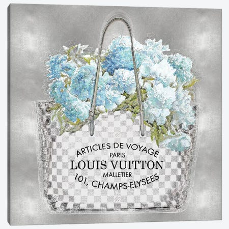 Aqua Bouquet On Silver Canvas Print #MDL3} by Madeline Blake Canvas Art