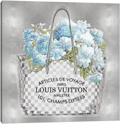 Aqua Bouquet On Silver Canvas Art Print