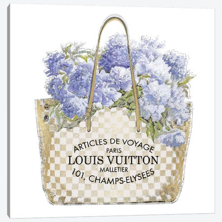 Indigo Bouquet with Gold Bag Canvas Print #MDL40} by Madeline Blake Art Print