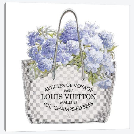 Indigo Bouquet with Silver Bag Canvas Print #MDL41} by Madeline Blake Canvas Art Print