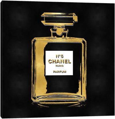 Gold Perfume on Black Canvas Art Print