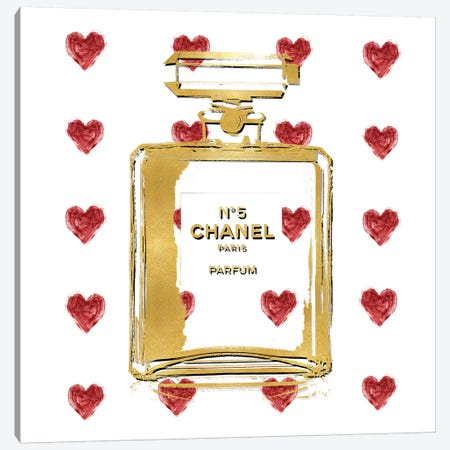 Perfume with Red Hearts Canvas Print #MDL55} by Madeline Blake Art Print