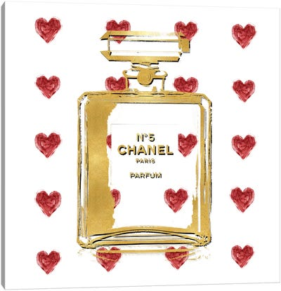 Perfume with Red Hearts Canvas Art Print