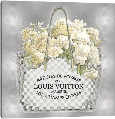 Floral Bouquet On Silver Canvas Art Print
