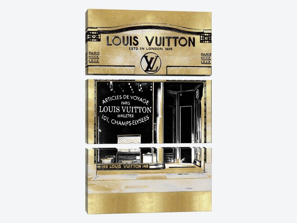 Designer Storefront in Gold by Madeline Blake 3-piece Canvas Art Print