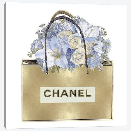 Gold Bag With Blue Bouquet Canvas Print #MDL7} by Madeline Blake Canvas Print