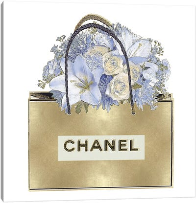 Gold Bag With Blue Bouquet Canvas Art Print