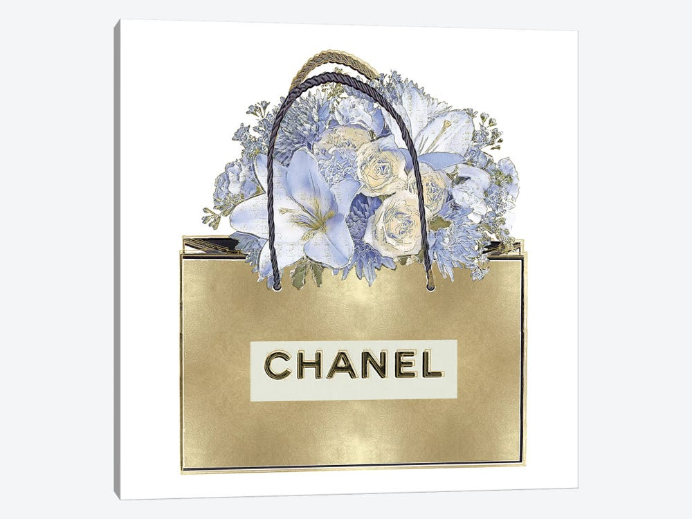 Gold Bag With Blue Bouquet 1-piece Canvas Art